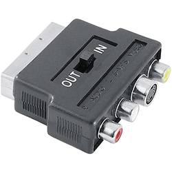SCART / kompozitný cinch / S-Video AV adaptér Hama 42357 42357, [1x zástrčka scart - 3x cinch zásuvka, zásuvka S-Video], čierna