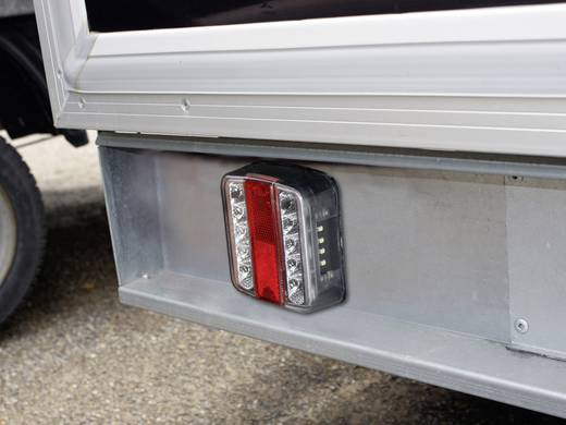 LED Anhänger-Rückleuchte Blinker, Bremslicht, Rückleuchte, Kennzeichenleuchte links, rechts 12 V Rot, Silber LAS