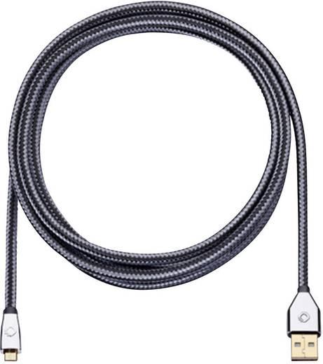 USB 2.0 Anschlusskabel [1x USB 2.0 Stecker A - 1x USB 2.0 Stecker Micro-B] 3 m Grau vergoldete Steckkontakte Oehlbach i-