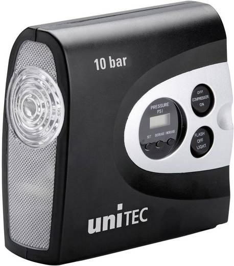 Kompressor 10 bar Unitec 10945 mit Arbeitslampe, Kabelfach/-aufnahme, Digitales Display, Automatische Abschaltung