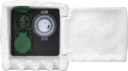 Renkforce 1168583 Gartensteckdose mit Zeitschaltuhr 2fach Stein-Grau