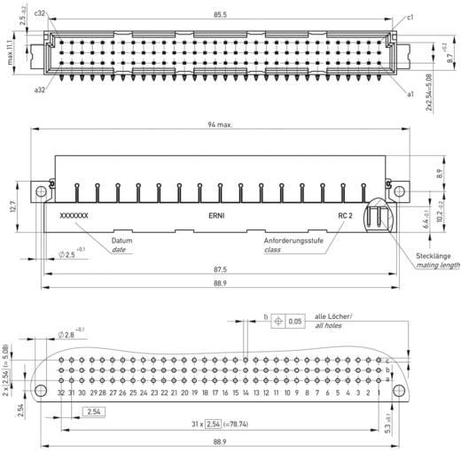Messerleiste 254835 Gesamtpolzahl 96 Anzahl Reihen 3 ERNI 1 St.