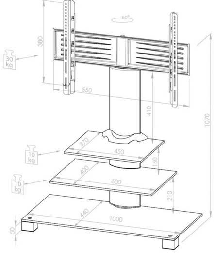 "TV-Rollwagen 55,9 cm (22"") - 119,4 cm (47"") Schwenkbar VCM Morgenthaler Alina"