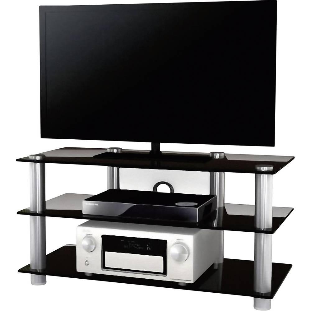 tv rack netasa vcm morgenthaler aluminium glass silver black im conrad online shop 1170905. Black Bedroom Furniture Sets. Home Design Ideas