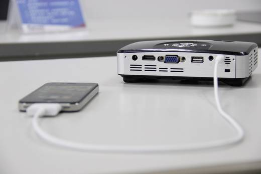 LED Beamer Telefunken DLP400 Helligkeit: 400 lm 1280 x 800 WXGA 1000 : 1 Schwarz, Silber