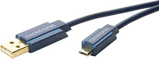 clicktronic USB 2.0 Anschlusskabel [1x USB 2.0 Stecker A - 1x USB 2.0 Stecker Micro-B] 1 m Blau vergoldete Steckkontakte