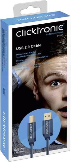 USB 2.0 Anschlusskabel [1x USB 2.0 Stecker A - 1x USB 2.0 Stecker B] 0.5 m Blau vergoldete Steckkontakte clicktronic
