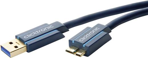 USB 3.0 Anschlusskabel [1x USB 3.0 Stecker A - 1x USB 3.0 Stecker Micro B] 0.5 m Blau vergoldete Steckkontakte clicktron