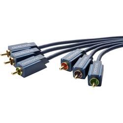 Kompozitný cinch AV prepojovací kábel clicktronic YUV Komponentenkabel 70430, [3x cinch zástrčka - 3x cinch zástrčka], 20.00 m, modrá