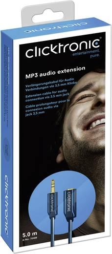 Klinke Audio Anschlusskabel [1x Klinkenstecker 3.5 mm - 1x Klinkenbuchse 3.5 mm] 5 m Blau vergoldete Steckkontakte click
