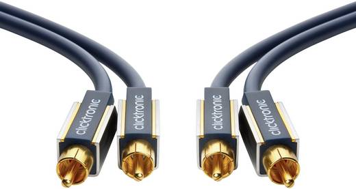 Cinch Audio Anschlusskabel [2x Cinch-Stecker - 2x Cinch-Stecker] 15 m Blau vergoldete Steckkontakte clicktronic