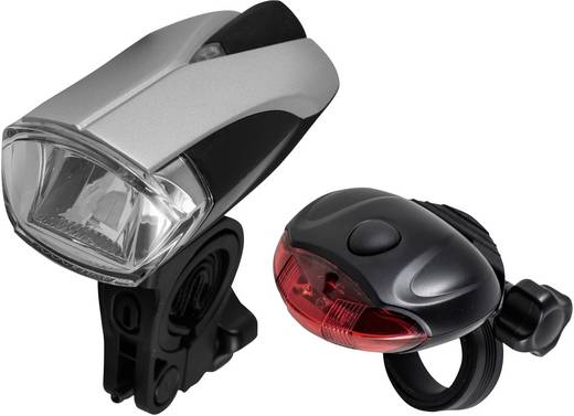 Fahrradbeleuchtung Set Varta Bike Light Set LED batteriebetrieben Silber-Schwarz