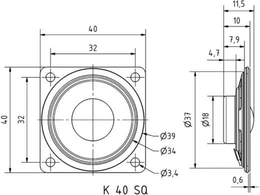 1.6 Zoll Miniaturlautsprecher Visaton K 40 SQ 0.5 W 8 Ω