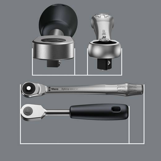 """Umschaltknarre 1/2"""" (12.5 mm) 281 mm Wera Zyklop Metal 8003 C 05004063001"""