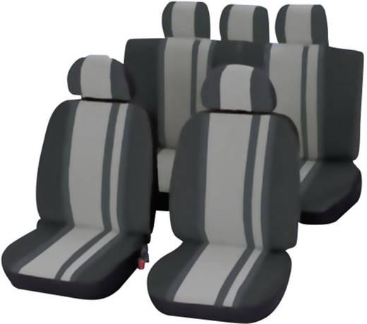 Sitzbezug 14teilig Unitec 84957 Newline Polyester Schwarz, Grau Fahrersitz, Beifahrersitz, Rücksitz