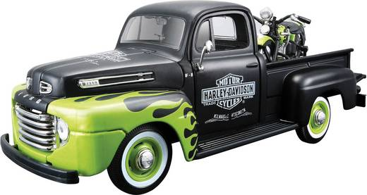 1:24 Modellauto Maisto Ford Pick Up F1 ´48 und Modellmotorrad FL Panhead Harley Davidson