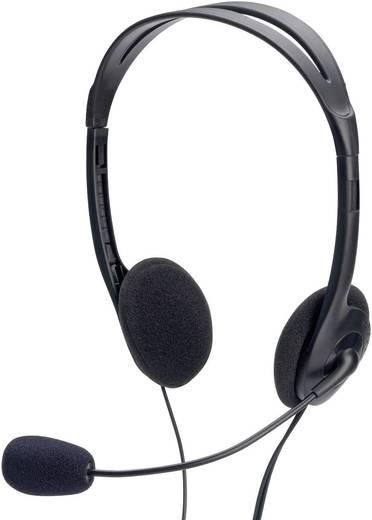 PC-Headset 3.5 mm Klinke schnurgebunden, Stereo ednet 83022 On Ear Schwarz