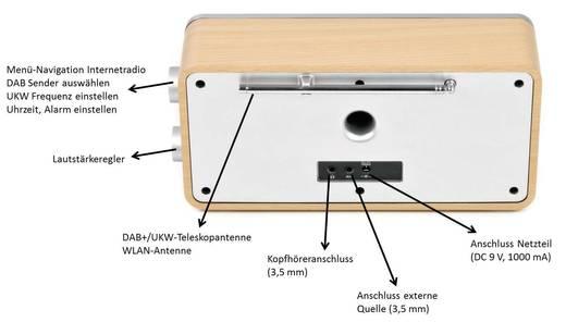 Internet Tischradio Dual IR 6S AUX, DAB+, Internetradio Spotify Holz, Schwarz