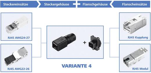 RJ45-Steckerset Variante 4 Stecker, gerade Pole: 8P8C J80026A0014 Schwarz Telegärtner J80026A0014 1 St.