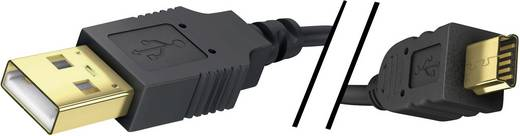 Inakustik USB 2.0 Anschlusskabel [1x USB 2.0 Stecker A - 1x USB 2.0 Stecker Mini-B] 2 m Schwarz vergoldete Steckkontakte