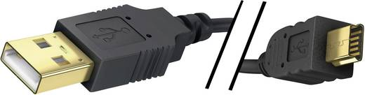 USB 2.0 Anschlusskabel [1x USB 2.0 Stecker A - 1x USB 2.0 Stecker Mini-B] 2 m Schwarz vergoldete Steckkontakte Inakustik