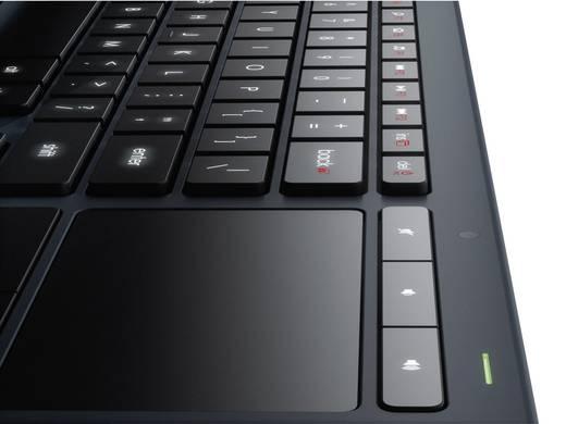 Funk-Tastatur Logitech K830 Illuminated Living-Room Keyboard Schwarz Beleuchtet, Integriertes Touchpad, Maustasten
