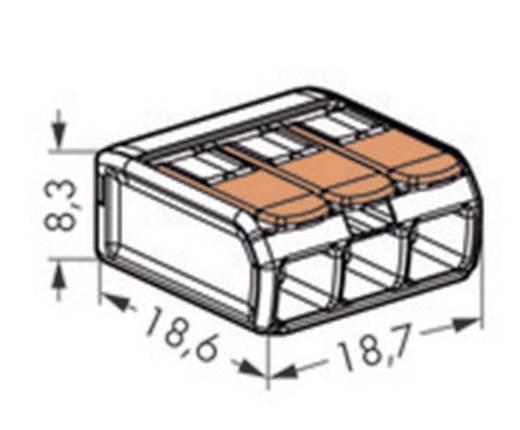 WAGO 221-413 Verbindungsklemme flexibel: 0.14-4 mm² starr: 0.2-4 mm² Polzahl: 3 1 St. Transparent, Orange