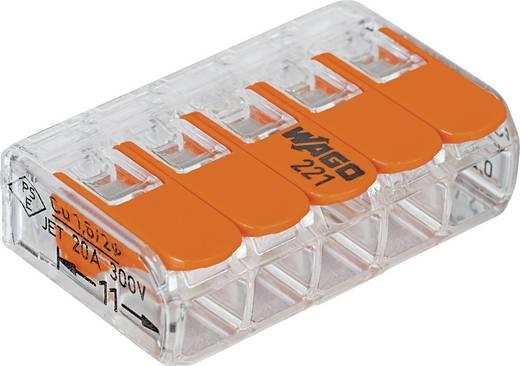 WAGO 221-415 Verbindungsklemme flexibel: 0.14-4 mm² starr: 0.2-4 mm² Polzahl: 5 1 St. Transparent, Orange