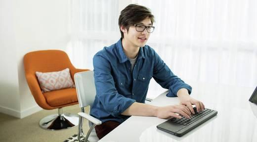Funk-Tastatur Microsoft All-in-One cordless Media Keyboard Schwarz Integriertes Touchpad, Spritzwassergeschützt