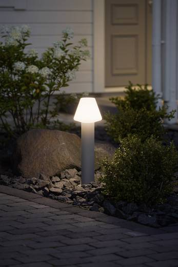Außenstandleuchte Energiesparlampe E27 18 W Konstsmide Barletta 7272-302 Acrylglas matt, Grau