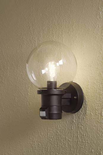 Außenwandleuchte mit Bewegungsmelder Energiesparlampe, LED E27 60 W Konstsmide Nemi Move 7321-750 Schwarz