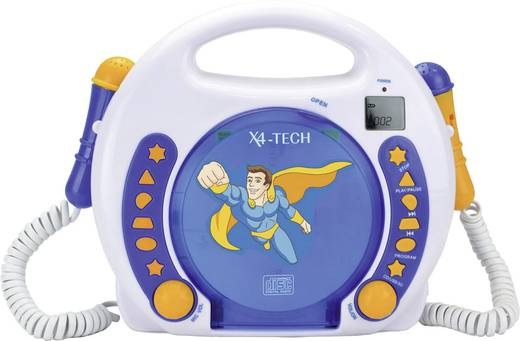 Kinder CD-Player X4 Tech Bobby Joey CD, SD, USB Inkl. Mikrofon Blau