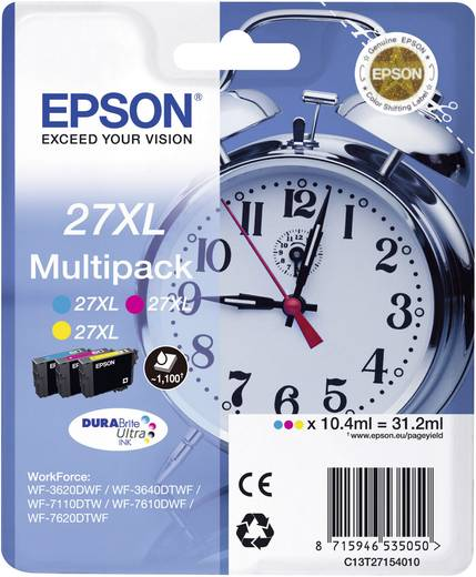 Epson Tinte T2715, 27XL Original Kombi-Pack Cyan, Gelb, Magenta C13T27154010