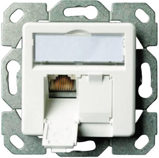 Netzwerkdose Unterputz Einsatz mit Zentralplatte CAT 6 2 Port Telegärtner Perl-Weiß