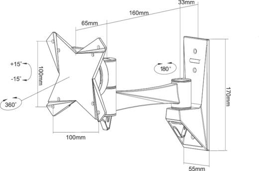 "NewStar FPMA-W822 Monitor-Wandhalterung 25,4 cm (10"") - 76,2 cm (30"") Neigbar+Schwenkbar, Rotierbar"