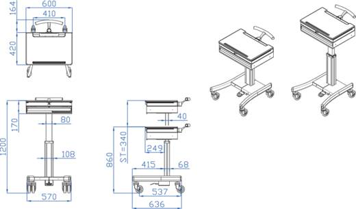 Notebook-Ständer NewStar Products MED-M100 mit Mauspad, höhenverstellbar
