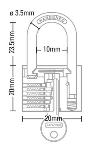Vorhängeschloss 20 mm Stanley Vorhängeschlösser 81110371401 Messing Schlüsselschloss