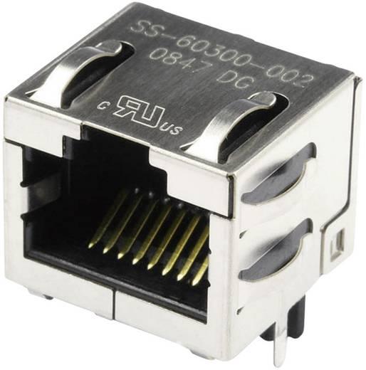 Modular-Einbaubuchse geschirmt Cat.6a mit Schirmlaschen Buchse, Einbau horizontal Pole: 8P8C SS-60300-002 Vernickelt, M