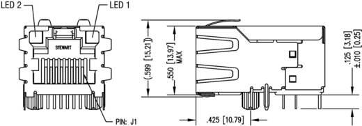 MagJack 10/100Base-TX 4 Übertrager mit LEDs Buchse, Einbau horizontal 10/100Base-TX Pole: 8P8C SI-50170-F Vernickelt, Me
