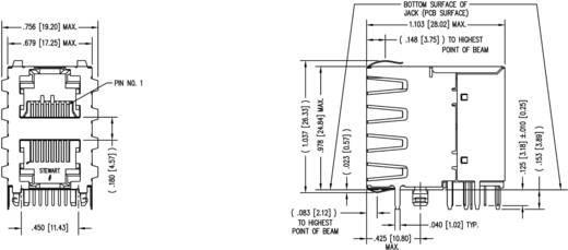 Modular-Einbaubuchse Doppelstock 2x1 Port geschirmt Cat.5 Buchse, Einbau horizontal Pole: 8P8C SS-738811S-PG4-AC Vernic