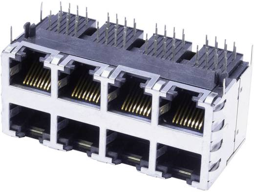 Modular-Einbaubuchse Doppelstock 4x2 Port geschirmt Cat.5 Buchse, Einbau horizontal Pole: 8P8C SS-73100-073 Vernickelt,