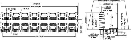 Modular-Einbaubuchse Doppelstock 8x2 Port geschirmt Cat.5 Buchse, Einbau horizontal Pole: 8P8C SS-73100-028 Vernickelt,