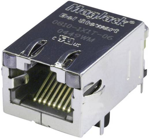 MagJack 10/100Base-TX 4 Übertrager mit LEDs Buchse, Einbau horizontal 10/100Base-TX Pole: 8P8C Vernickelt, Metall BEL S