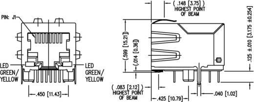 MagJack 10/100Base-TX 4 Übertrager mit LEDs Tab down Buchse, Einbau horizontal 10/100Base-TX Pole: 8P8C Vernickelt, Met