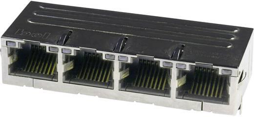 MagJack 10/100Base-TX 4 Port 4 Übertrager mit LEDs Buchse, Einbau horizontal 10/100Base-TX Pole: 8P8C Vernickelt, Metal