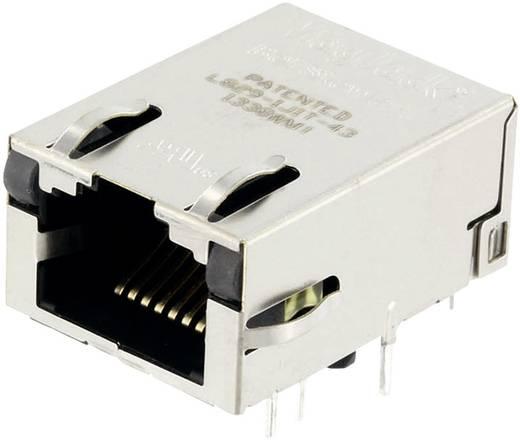 MagJack Gigabit Ethernet 8 Übertrager mit LEDs ULP Buchse, Einbau horizontal Gigabit Ethernet Pole: 8P8C Vernickelt, Me