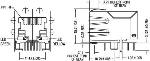 MagJack Gigabit Ethernet 8 Übertrager mit LEDs Tab down Buchse, Einbau horizontal Gigabit Ethernet Pole: 8P8C Vernickel