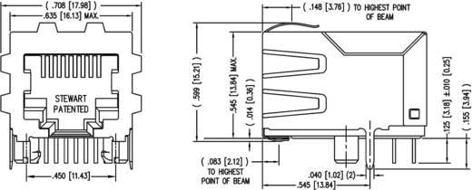 Modular-Einbaubuchse geschirmt mit Schirmlaschen Buchse, Einbau horizontal Pole: 8P8C SS64800-056F Vernickelt, Metall B