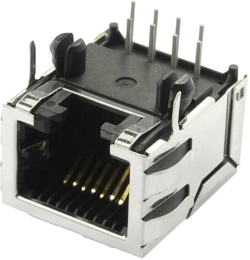 Modular-Einbaubuchse geschirmt Cat.5 mit Schirmlaschen Buchse, Einbau horizontal Pole: 10P8C SS70100-011F Vernickelt, M