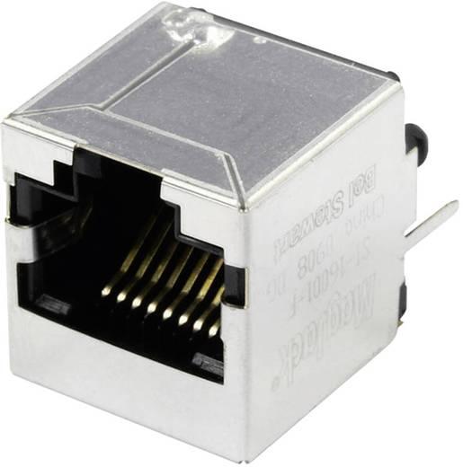 MagJack 10/100Base-TX vertikal 4 Übertrager Buchse, Einbau vertikal 10/100Base-TX Pole: 8P8C SI-16001-F Vernickelt, Meta